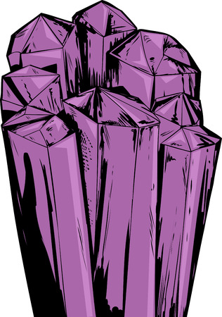 Illustration of rough purple amethyst quartz crystals Illustration