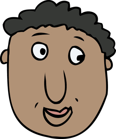 Close up cartoon face with grin over white background
