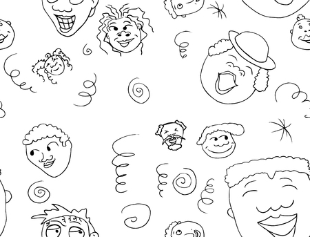 good cheer: Outlined pattern of faces with positive expressions