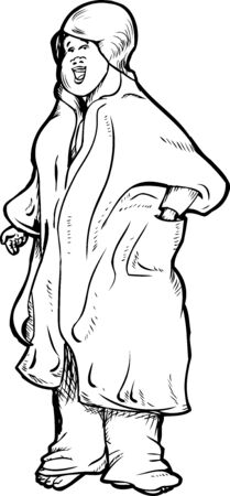 bathrobe: Cheerful cute adult female in bathrobe cartoon Illustration