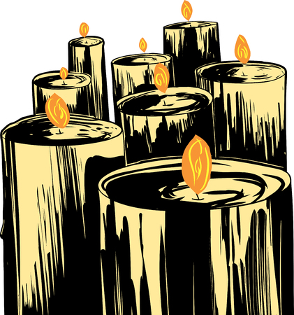 Group of large cartoon wax candles with flames Illustration