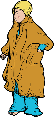 bathrobe: Single blond adult female in bathrobe illustration