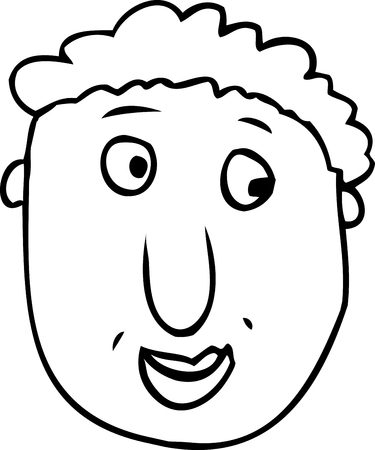 Outlined cartoon face with grin over white background 向量圖像