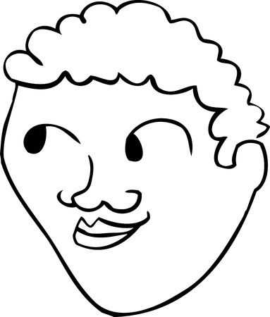 outlined isolated: Outlined male face with smile over isolated background Illustration