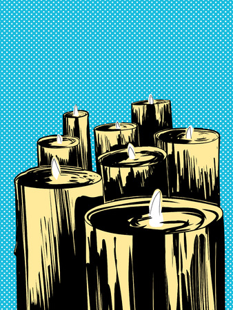 Group of large lit candles over blue halftone