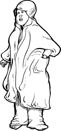 sleepy woman: Outline of adult female in bathrobe cartoon