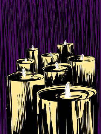 Large wax candles over purple background