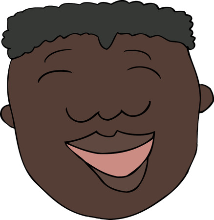 Doodle cartoon of laughing African male over white 向量圖像