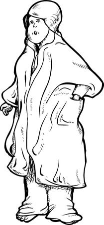 bathrobe: Isolated serious single woman in bathrobe cartoon
