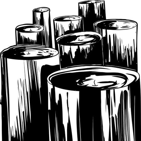 Group of large hand drawn wax candles