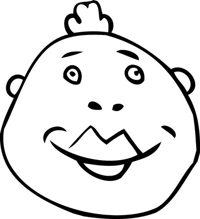 Outlined avatar of cheerful man with mohawk 向量圖像
