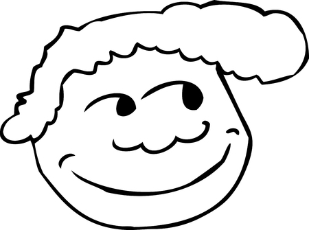 grinning: Outline of grinning face with smile over white background
