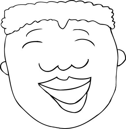 Outlined cartoon of laughing African male over white 向量圖像