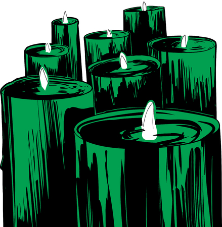 Group of 8 green lit candles over white