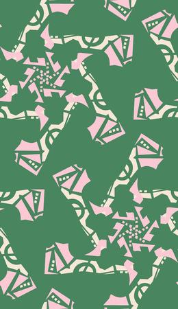 Green kaleidoscope background pattern of pink star shapes Illustration