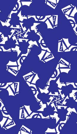 Seamless kaleidoscope pattern of white on blue star shapes