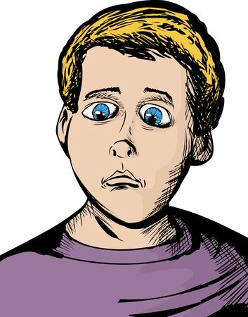 Cartoon of single Caucasian youth with serious expression