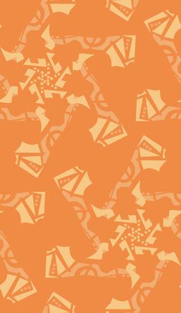 Seamless kaleidoscope background pattern of orange star shapes