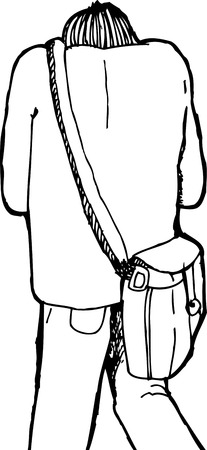 hunched: Cartoon rear view of person hunched over with bag Illustration