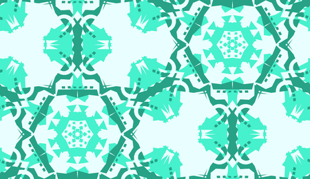 Repeating green doily pattern with hexagonal shapes Иллюстрация