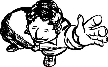 man looking up: Happy single man looking up and waving hand Illustration