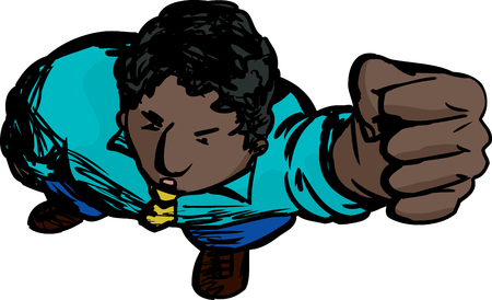 clenched: Cartoon of annoyed Black man looking up holding clenched fist