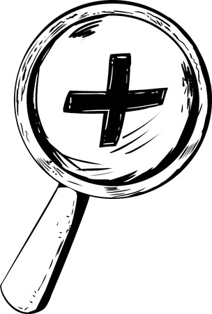 zoom in: Outlined magnifying glass with zoom in symbol