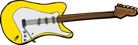 흰색 위에 노란색 일렉트릭 기타의 고립 된 그림