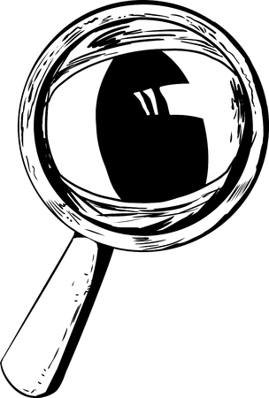 looking through an object: Outlined cartoon magnifying glass with large cat eye