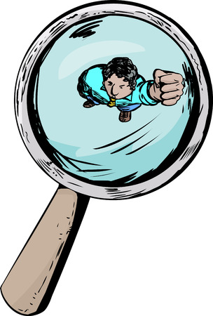 Angry man under a magnifying glass with clenched fist
