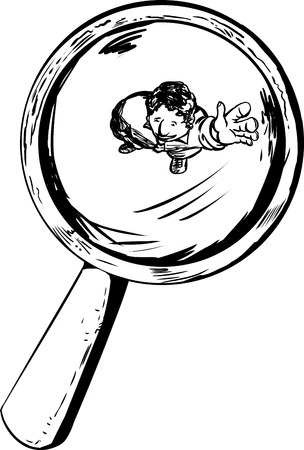 Smiling person under magnifying glass waving his hand Stock Illustratie