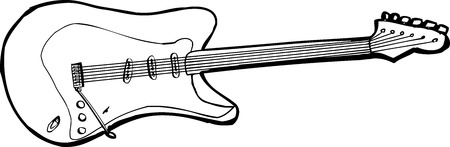 Isolated illustration of an outlined electric guitar over white