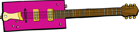 'odd one out': Illustration of a pink rectangular electric guitar over white Illustration