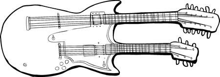 Isolated outline of a unique electric guitar over white Иллюстрация