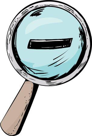 scrutinize: Single cartoon magnifying glass with minus symbol