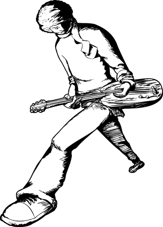 electric guitar: Outline of male electric guitar musician performing over white background