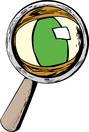 looking through an object: Isolated magnifying glass with green cat eye looking through