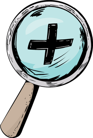 zoom in: Cartoon magnifying glass with zoom in symbol