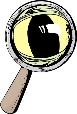 Isolated magnifying glass with large cat eye looking through Illustration