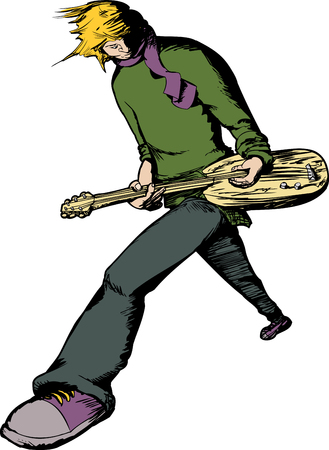 teen boy: Blond male electric guitar musician performing over isolated background Illustration