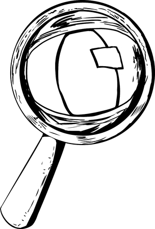 Cat eye looking through magnifying glass in cartoon outline