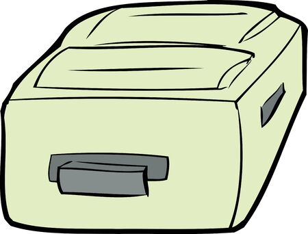 shut out: Single cartoon suitcase laying flat over white