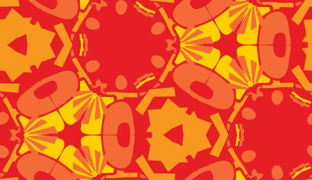 repeating: Repeating abstract yellow and red shapes in repeating background pattern Illustration