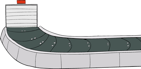 conveyer: Hand drawn illustration of a baggage claim carousel