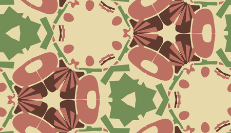 Repeating abstract maroon and green shapes in background pattern
