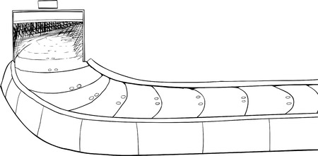 conveyer: Outline of an open isolated baggage claim conveyer belt