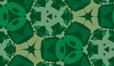 repeating: Repeating green shapes in repeating wallpaper pattern