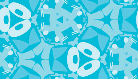 Seamless blue abstract shapes in repeating background pattern