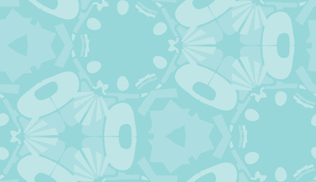 Repeating abstract blue shapes in repeating wallpaper background pattern
