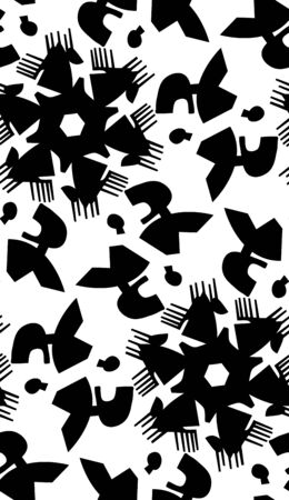 monotone: Monotone black and white seamless pattern of talking heads Illustration